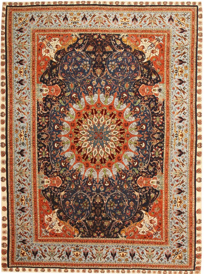 Antique Silk and Wool Tabriz Persian Rug 43571