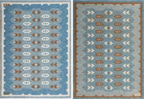 Double Sided Vintage Swedish Kilim Rug #48008 Color Detail - By Nazmiyal